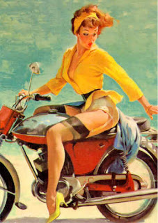 Pinup girl motorcycle ride, 1960s