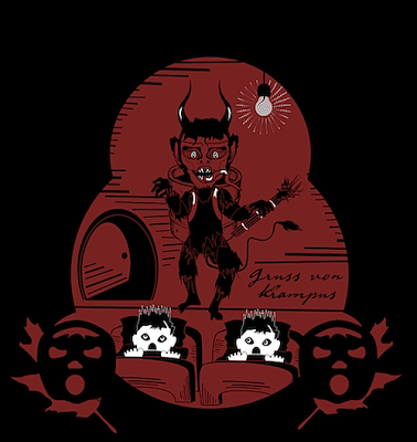 Krampus graphics by holiday artist Bindlegrim for vintage style lantern designs
