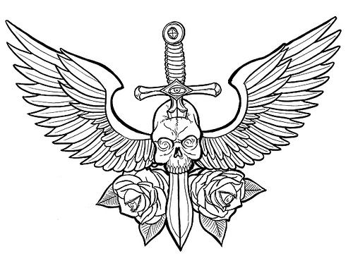 Labels Skull and wings drawing