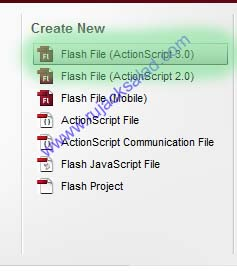 Creating New File On Adobe Flash