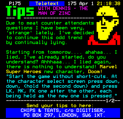 Teletext Digitiser - Tips with Dennis the man of Zinc