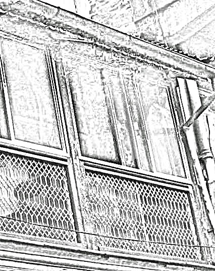 old style balcony railing sketch