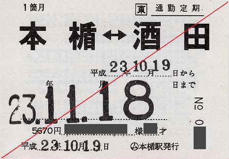 JR東日本 本楯駅 通勤用完全常備定期乗車券 本楯⇔酒田