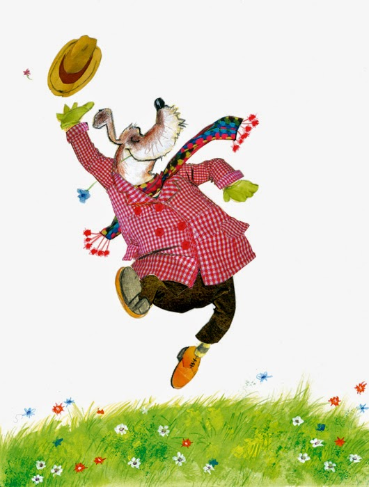 illustration by Robert Wagt of a happy dog celebrating spring