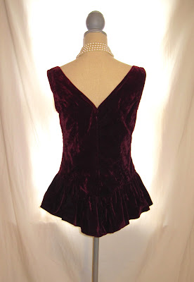 Historical Look of Victorian Women's Velvet Sleeveless Fairy Tale Vest, Lace and Pearl Embellished, V Bow Back