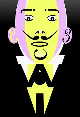 retrato  Dalí  ilustración y diseño con tipografías carbógràfico en sevilla