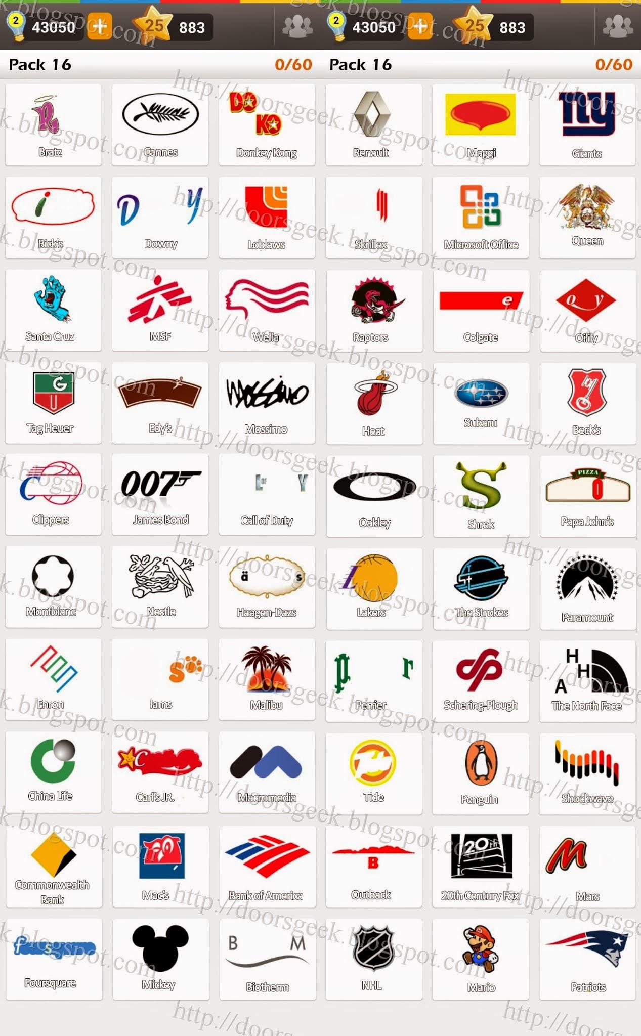 Souvent Logo Game: Guess the Brand [Regular] Pack 16 ~ Doors Geek IA33