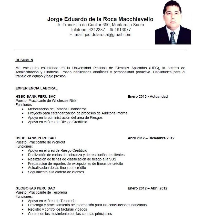 curriculum vitae  curriculum vitae sin experiencia laboral peru