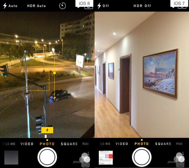 iOS 8 and iOS 7 Camera App