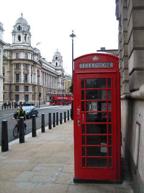 Red telephone booth in London, England.