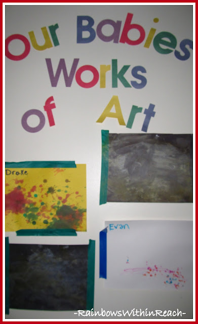 "photo of: ""Our Babies Works of Art"" Display Space for Infant + Toddler Art (Bulletin Board)"