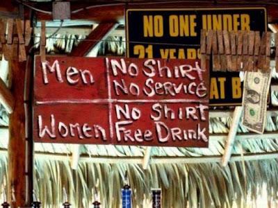no shirt free drinks