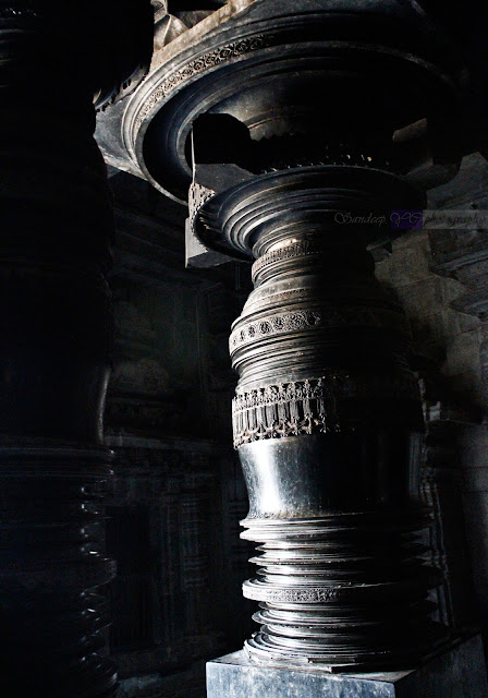 The lathe turned pillar in the main hall