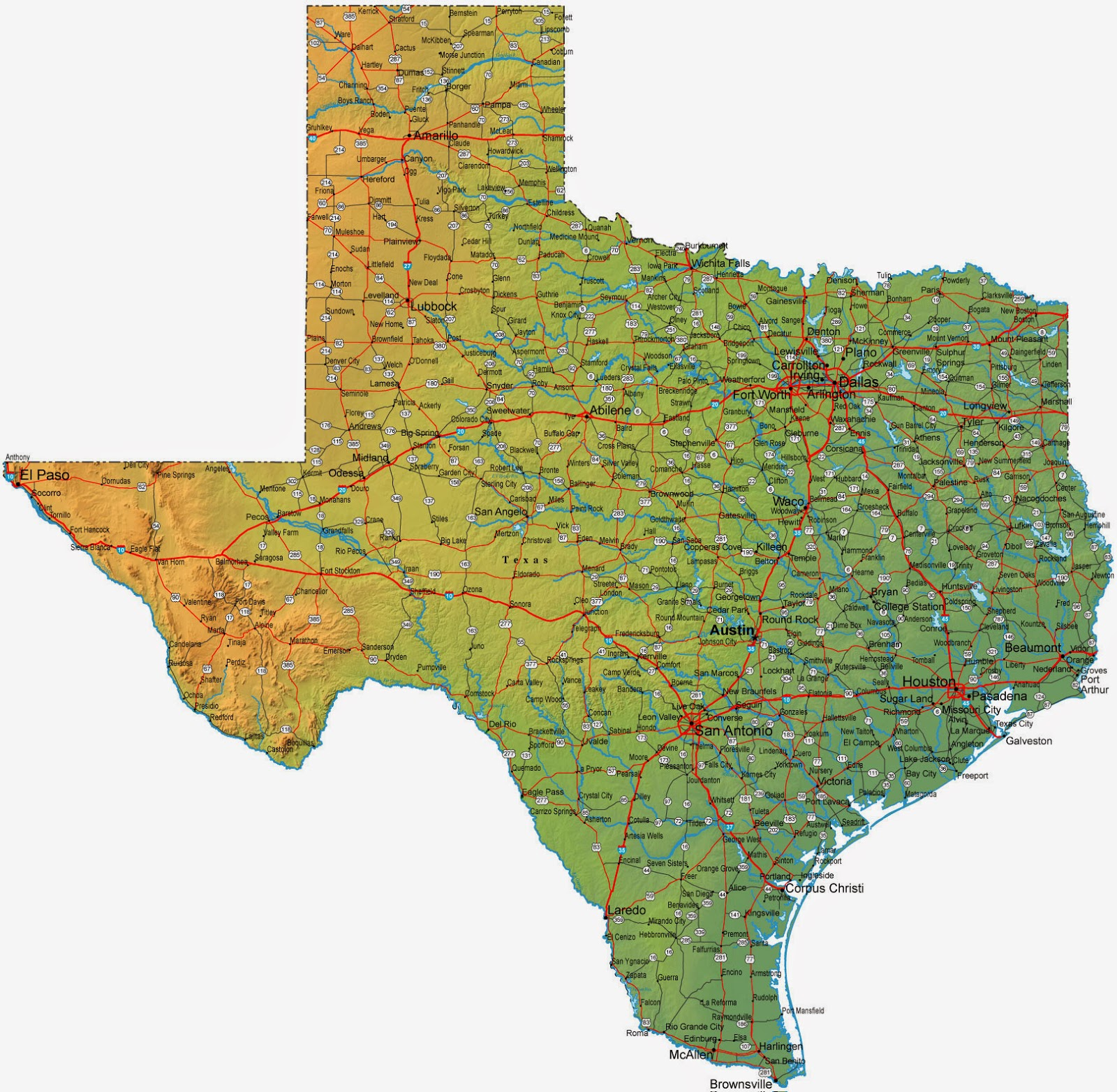 Big Map Of Texas
