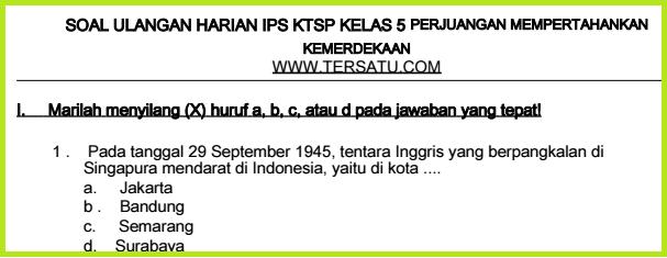 download bank kumpulan Soal-Soal UH IPS KTSP Kelas 5 Semester 2