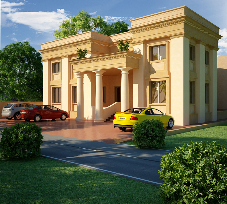 3d front dimetia pakistani 2 k2nal house 3d for Pakistani new home designs exterior views