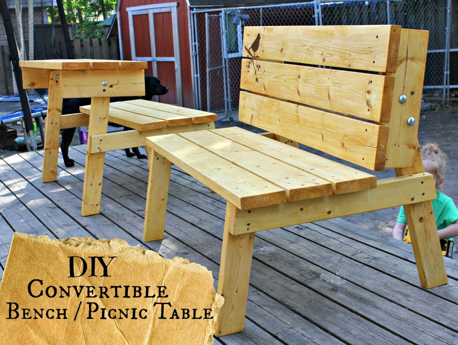 Attirant ... Convertible Picnic Table/bench. Click Here For Her Free Plans