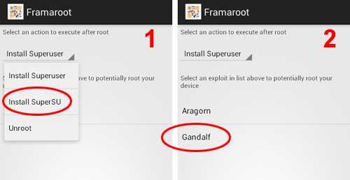 Install SuperSU di Framaroot lalu pilih Gandalf