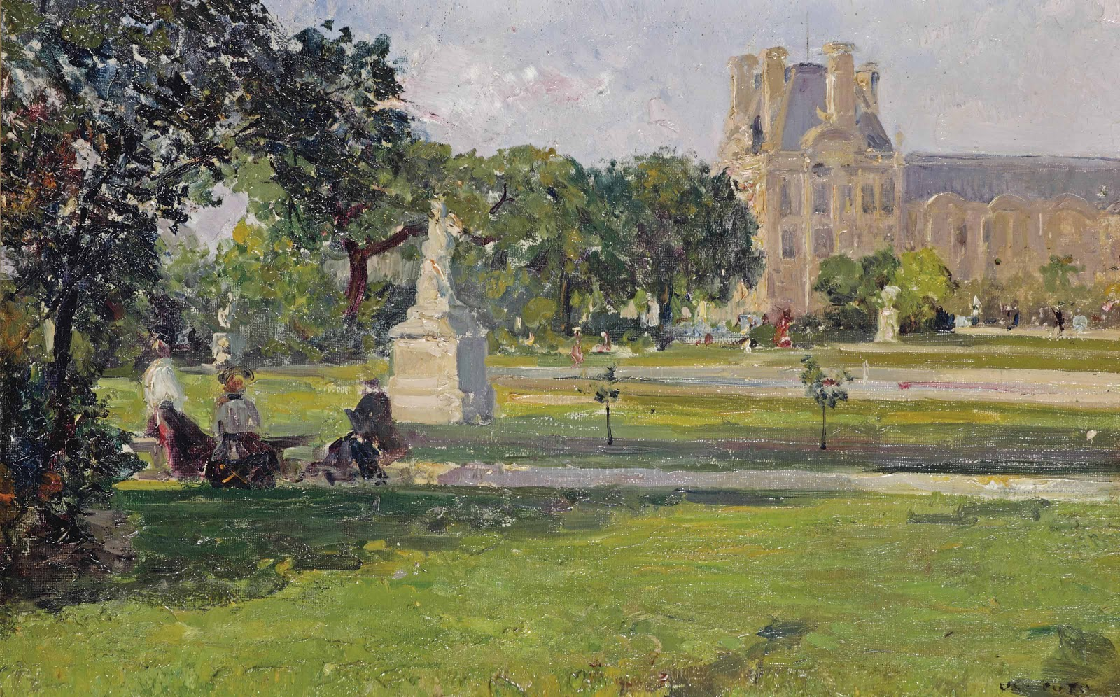 Ulisse Caputo A quiet afternoon in the Tuileries gardens with a view of the Louvre Paris