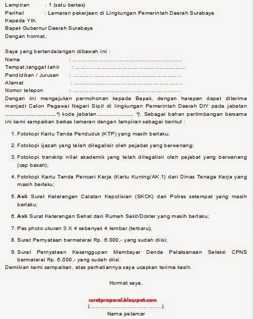 Surat Lamaran Calon Pns