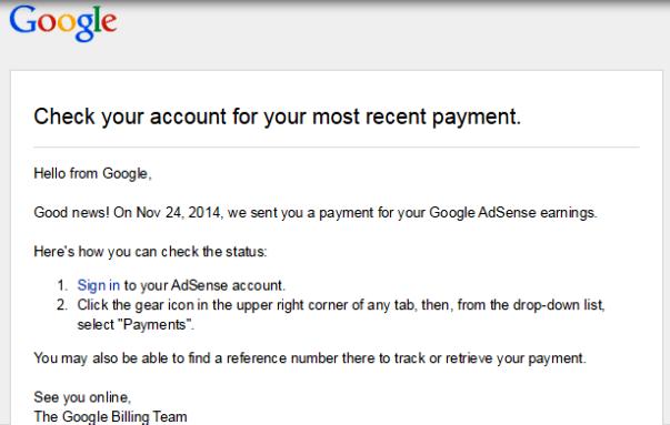 pembayaran google adsense