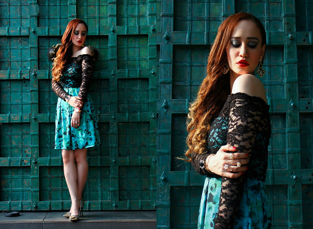 VERO MODA Marquee,turquoise green party-wear skater dress, lace and floral dress, Kangana Ranaut