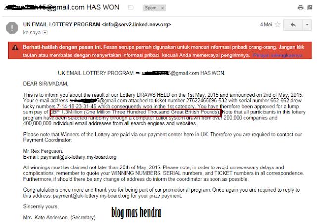 Penampakan Email Pemenang Lotere - Blog Mas Hendra