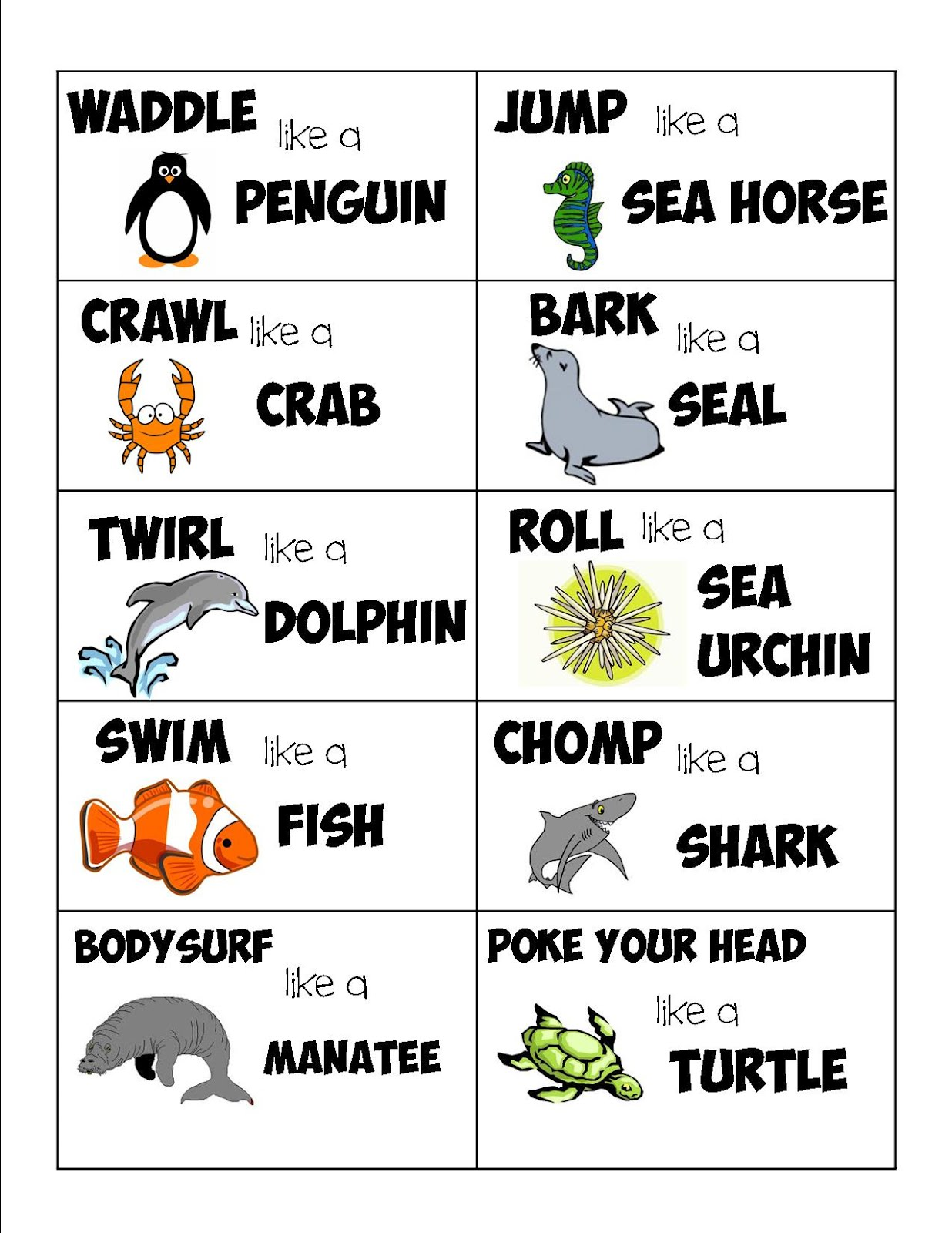 Sea Life Action Cards - Guest Post from lil Mop Top | Mess