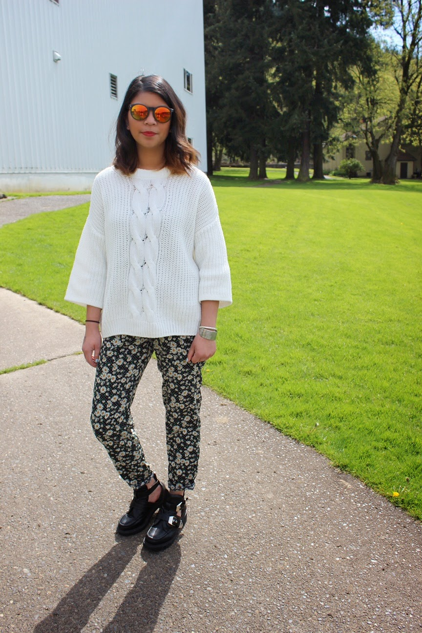 white sweater, hm, mirrored sunglasses, forever 21, floral printed pants, ross dress for less, cut out booties, go jane, oversized coat, yoshimi bag, aztec print clutch, portland bloggers, pdx blogger, fashion blogger, spring 2015, the ptown girls, ootd, spring outfit inspiration