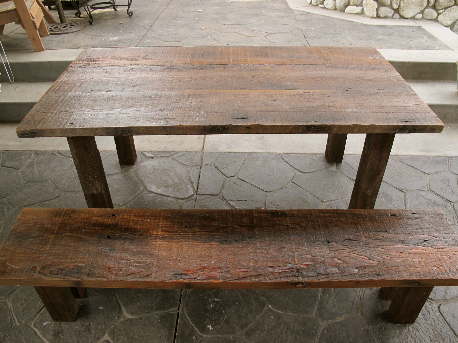 exchange reclaimed wood furniture outdoor dining table bench