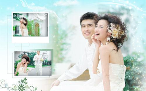 Coloca tres fotos de tu boda en este portaretratos psd