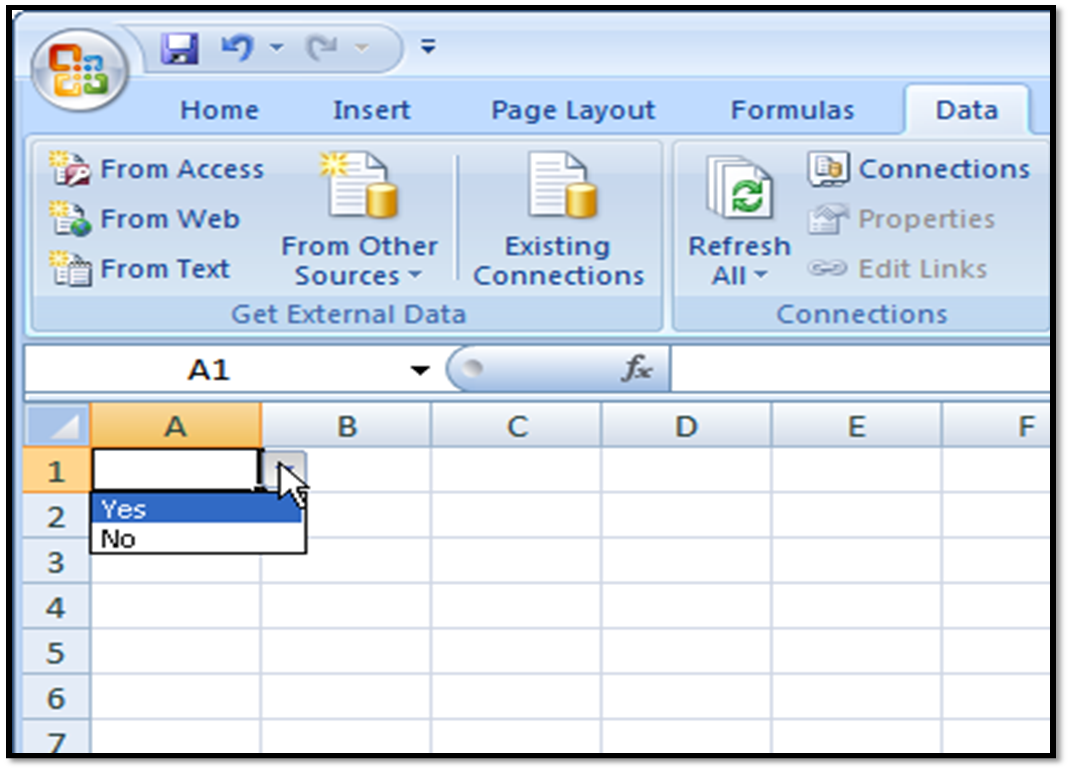 Excel Spreadsheets Help Quick Tips Yes/No Drop Down List