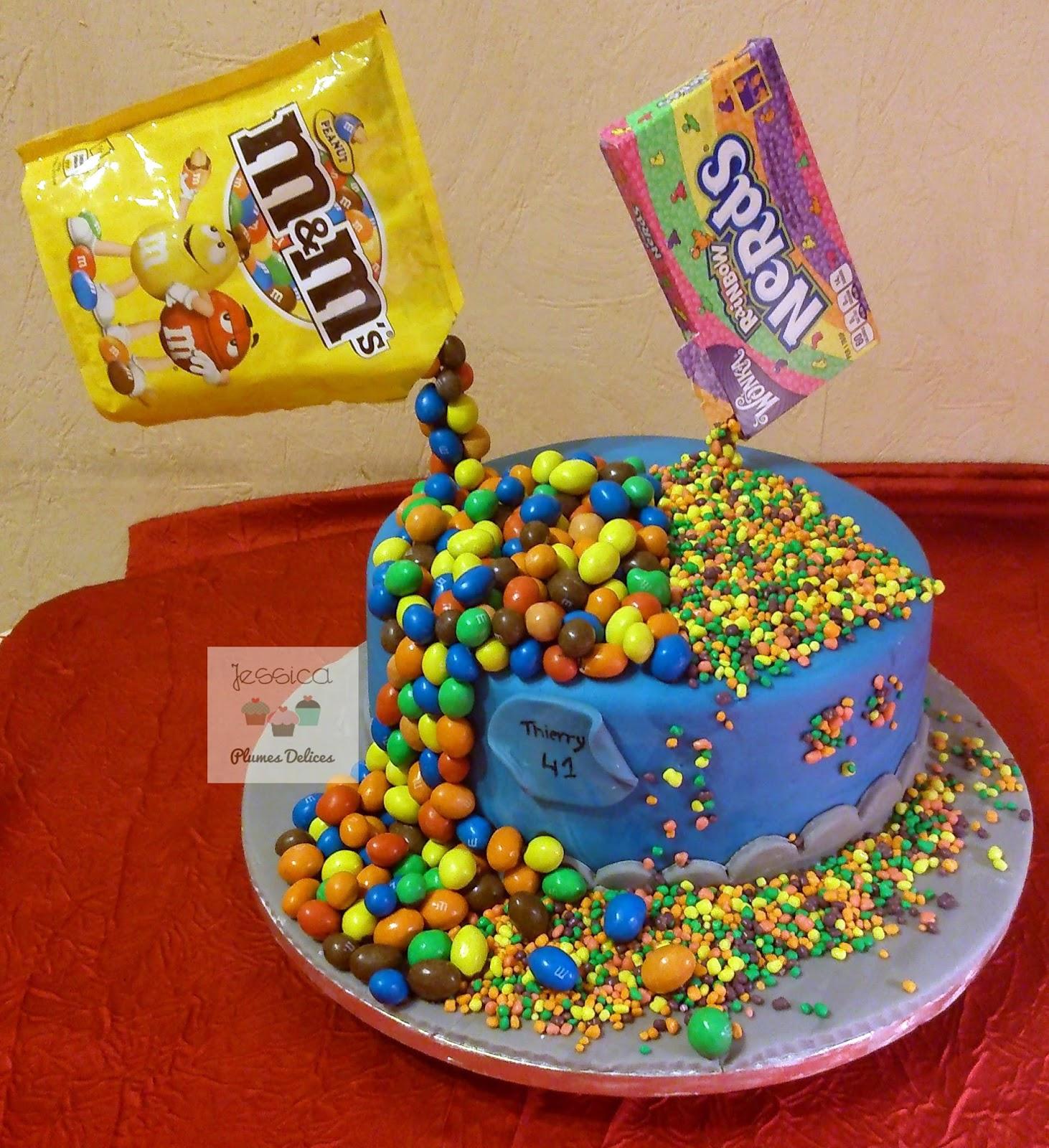 Plumes d lices g teau arc en ciel gravity et bonbon cake rainbow gravity candy - Gateau en bonbon ...