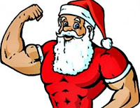 muscular santa cartoon