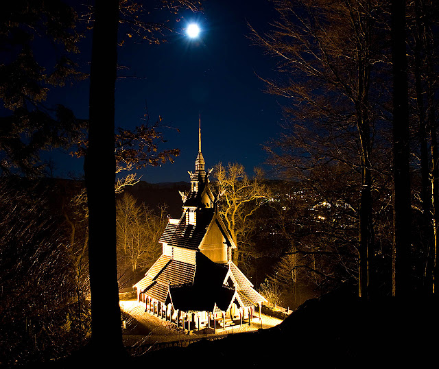 The Fantoft Stave Church that stands here today is actually a replica of a church built in 1150 that was moved from its original home in Sogn to this site in Bergen at the end of the 19th century. Because of a string of arson that plagued many of Norway's stave churches during the 1990s, it too succumbed in 1993 but was rebuilt and opened in 1997. Photo: WikiMedia.org.