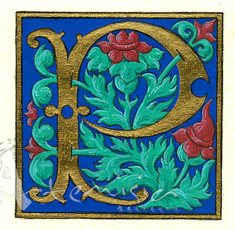 artemisiarestauro: Illuminated letter P with marbled paper