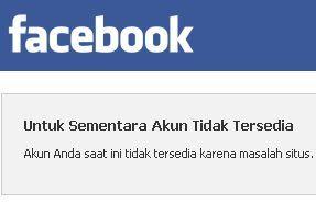 Untuk Sementara Akun Tidak Tersedia Facebook