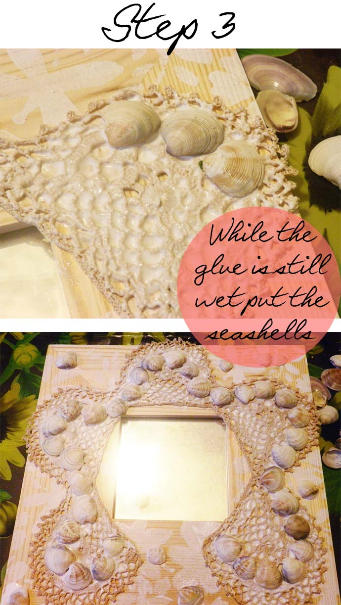DIY project: How to glam up wooden mirror frames from Ikea using acrylic paint, crochet pieces and seashells; Step 3