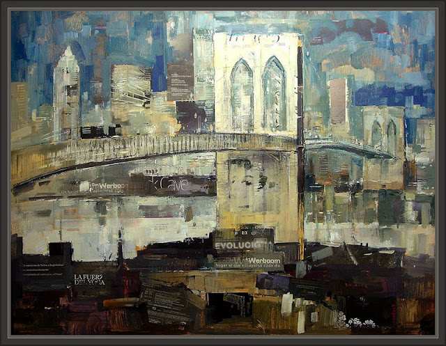 NUEVA YORK-BROOKLYN BRIDGE-NEW YORK-PINTURA-PAINTINGS-PINTOR-ERNEST DESCALS-