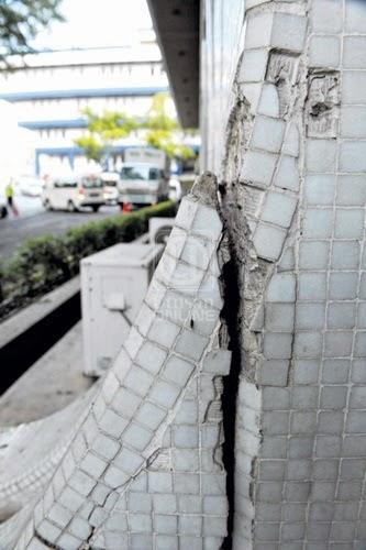 Tanah runtuh, punca tanah runtuh, kesan tanah runtuh, pergerakan tanah menyebabkan runtuhan tanah serius, dinding bangunan retak