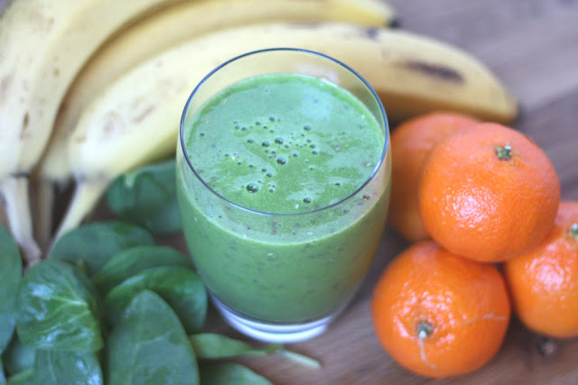 Pineapple Orange Chia Spinach Smoothie recipe by Barefeet In The Kitchen