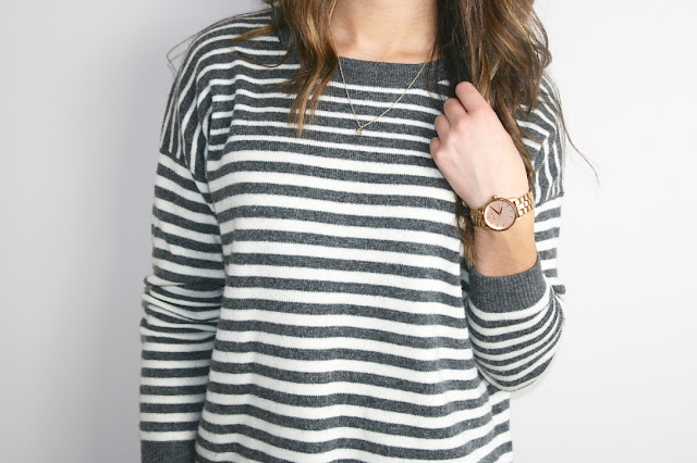 Katherine Penney Chic Fashion Style Outfit Post Stripes Topshop Jumper Comfy Slouchy Pretty Simple