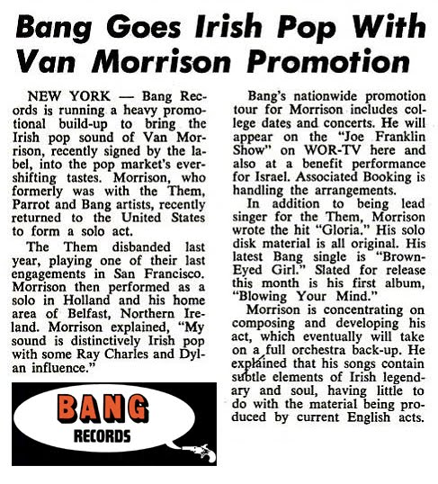 Van Morrison - Blowin'  Your Mind LP (Billboard 2 sep 1967)