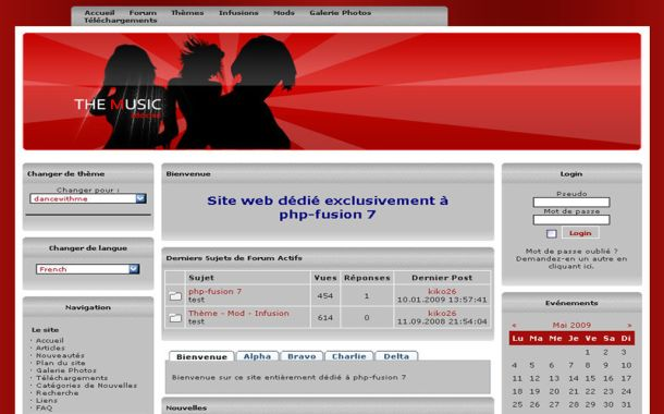 Free Black Red Music Dance Php-fusion Theme