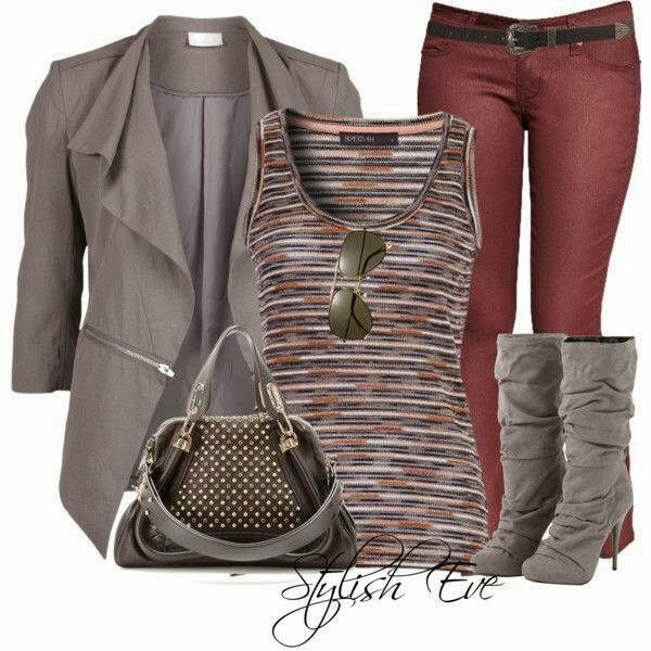 Adorable grey jacket, red pants, blouse and grey long boots for fall