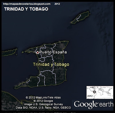 TRINIDAD Y TOBAGO, Mapa de TRINIDAD Y TOBAGO, Google Earth (vista nocturna)