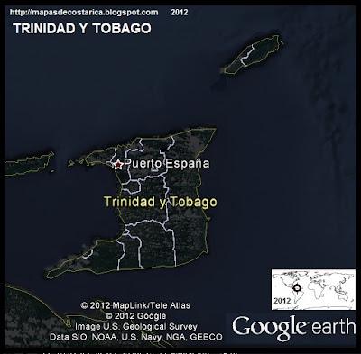 TRINIDAD Y TOBAGO, Mapa de TRINIDAD Y TOBAGO, Google Earth (vista nocturna)