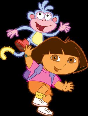 Desenho Dora a Aventureira e Botas colorido
