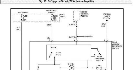 Defoggers Circuit With Antenna Amplifier Wiring Diagram Of 1997 Audi A4 Quattro