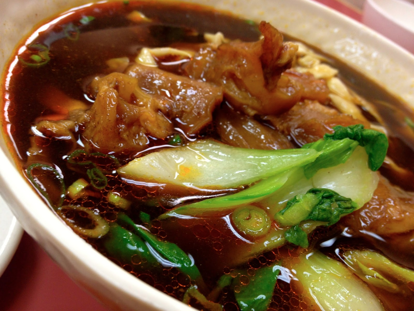 spicy beef tendon noodle soup scallion pancake warm soy milk chinese ...
